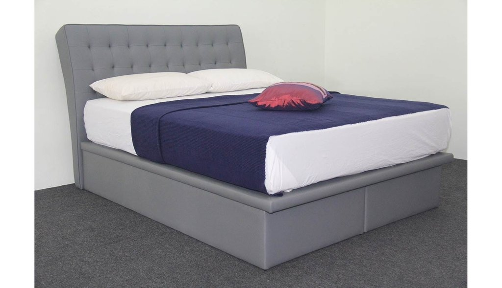Urana Queen Size Storage Bed Frame Grey How To Make A Header Two Queen Size Headboards