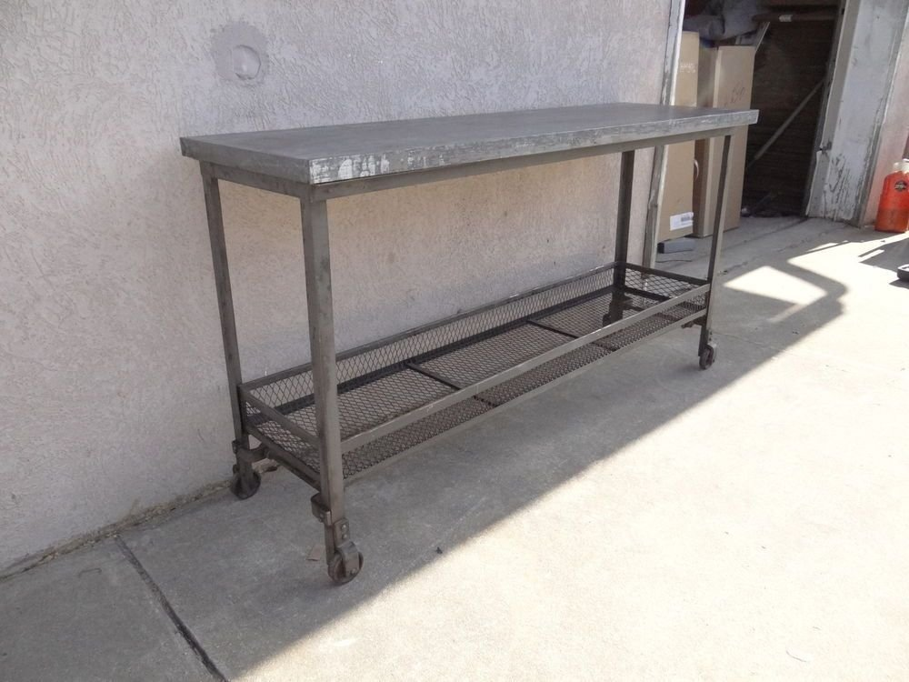 Urban Industrial Metal Zinc Top Sofa Hall Foyer Console Modern Mirrored Console Table