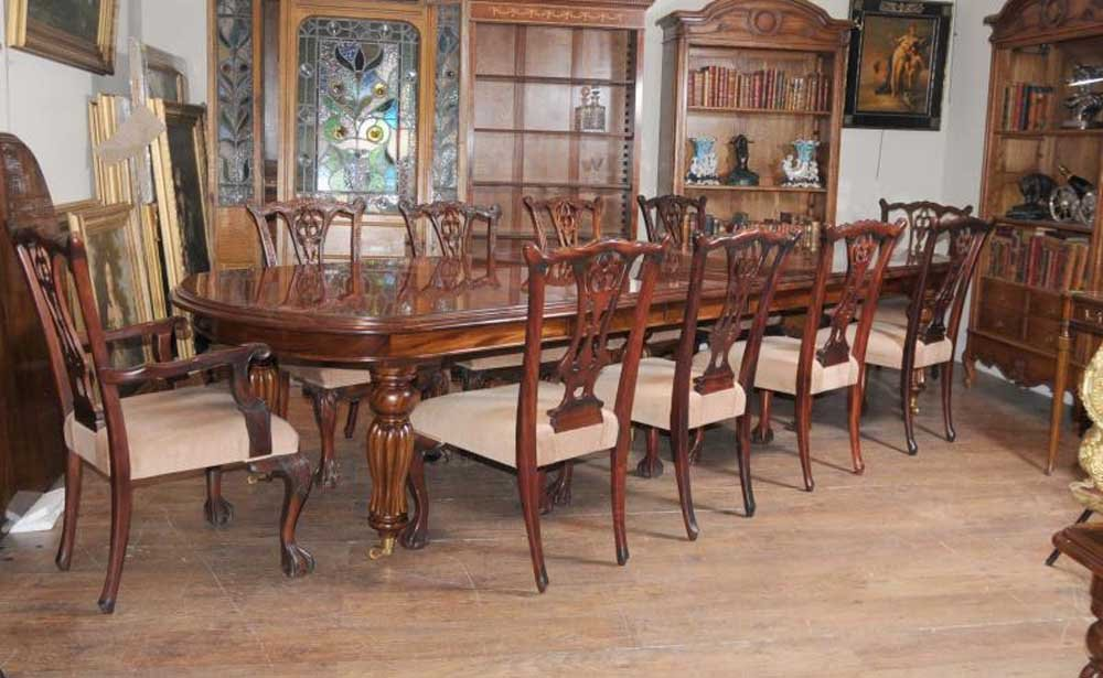 Victorian Dining Table Set Chippendale Chair Set Suite Double Pedestal Dining Table Antique