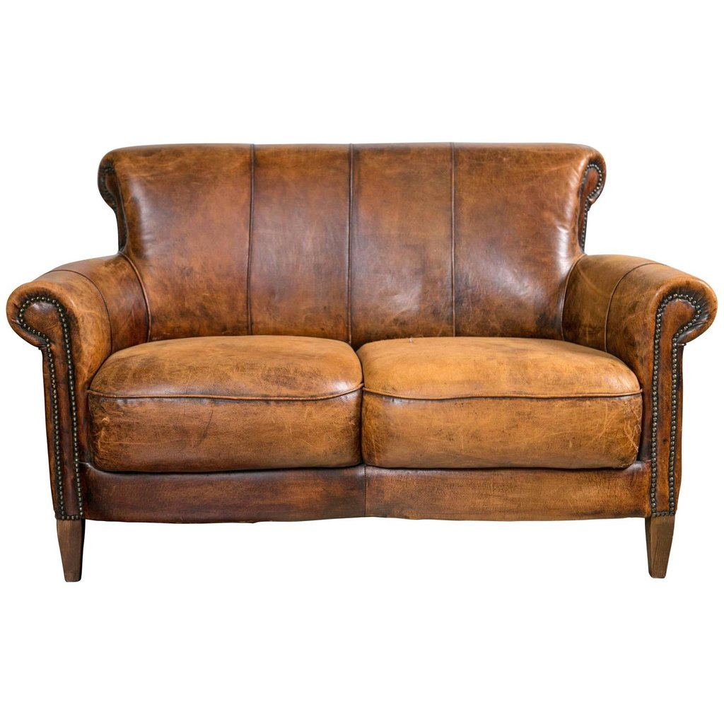 Vintage French Distressed Art Deco Leather Sofa 1stdib Leather Sofa And Loveseat Covers
