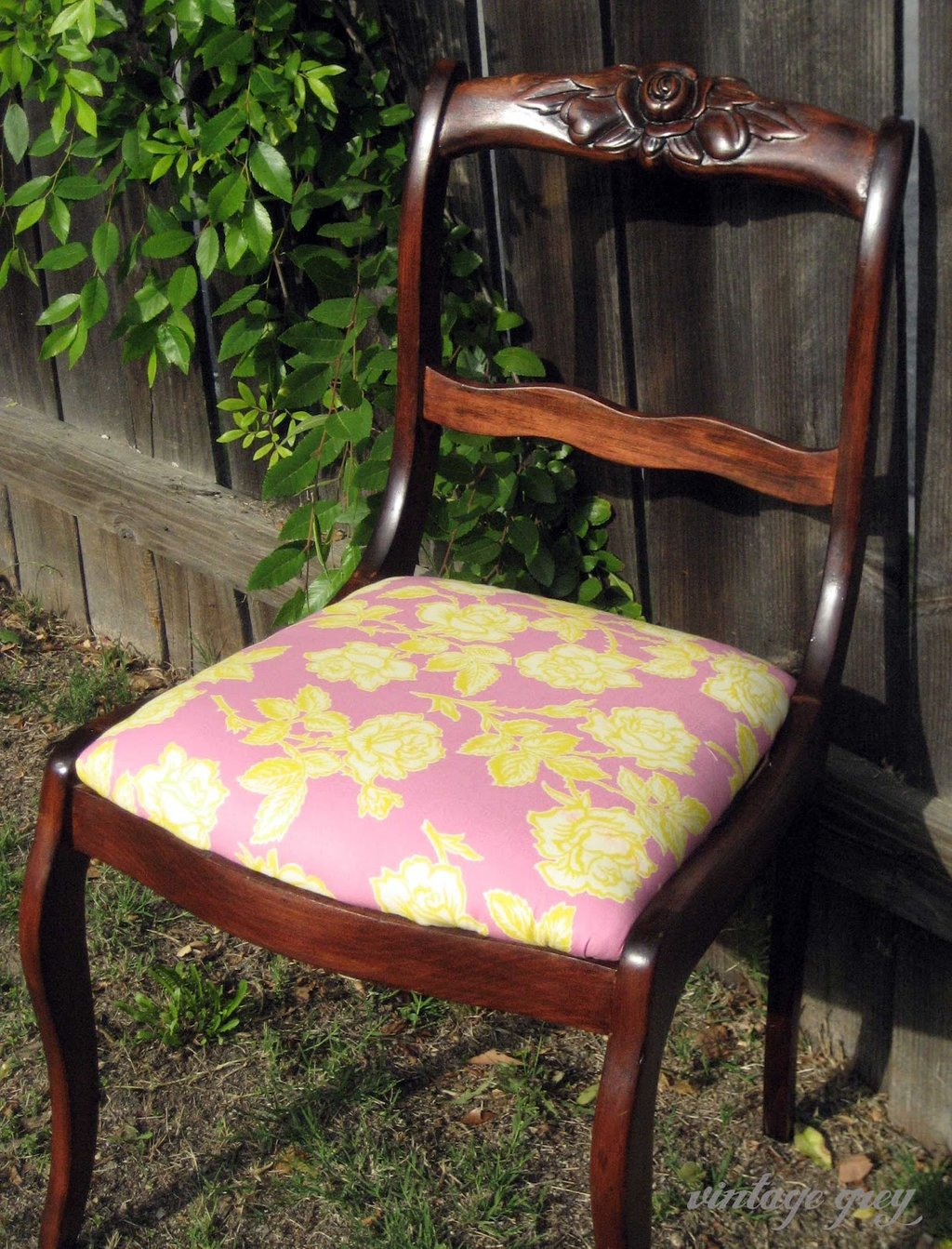 Vintage Grey Rose Chair Making An Drop Leaf Kitchen Table