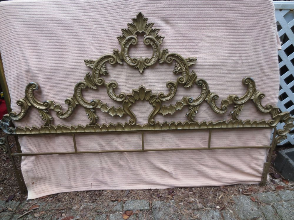 Vintage Hollywood Regency French Rococo Style Cast Metal King Size Bed Frame With Headboard