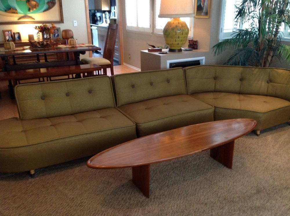 Vintage Mid Century Modern 3 Piece Sectional Couch Bull Sectional Sofas For Small Spaces Modern