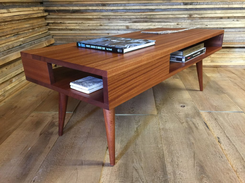 Vintage Mid Century Modern Coffee Table Cabinets Bed Mirrored Nightstand And Dresser