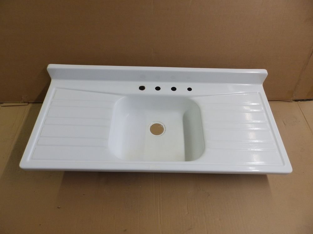 Vtg Mid Century Steel White Porcelain Double Drainboard Considering Before Choosing Kitchen Sink With Drainboard