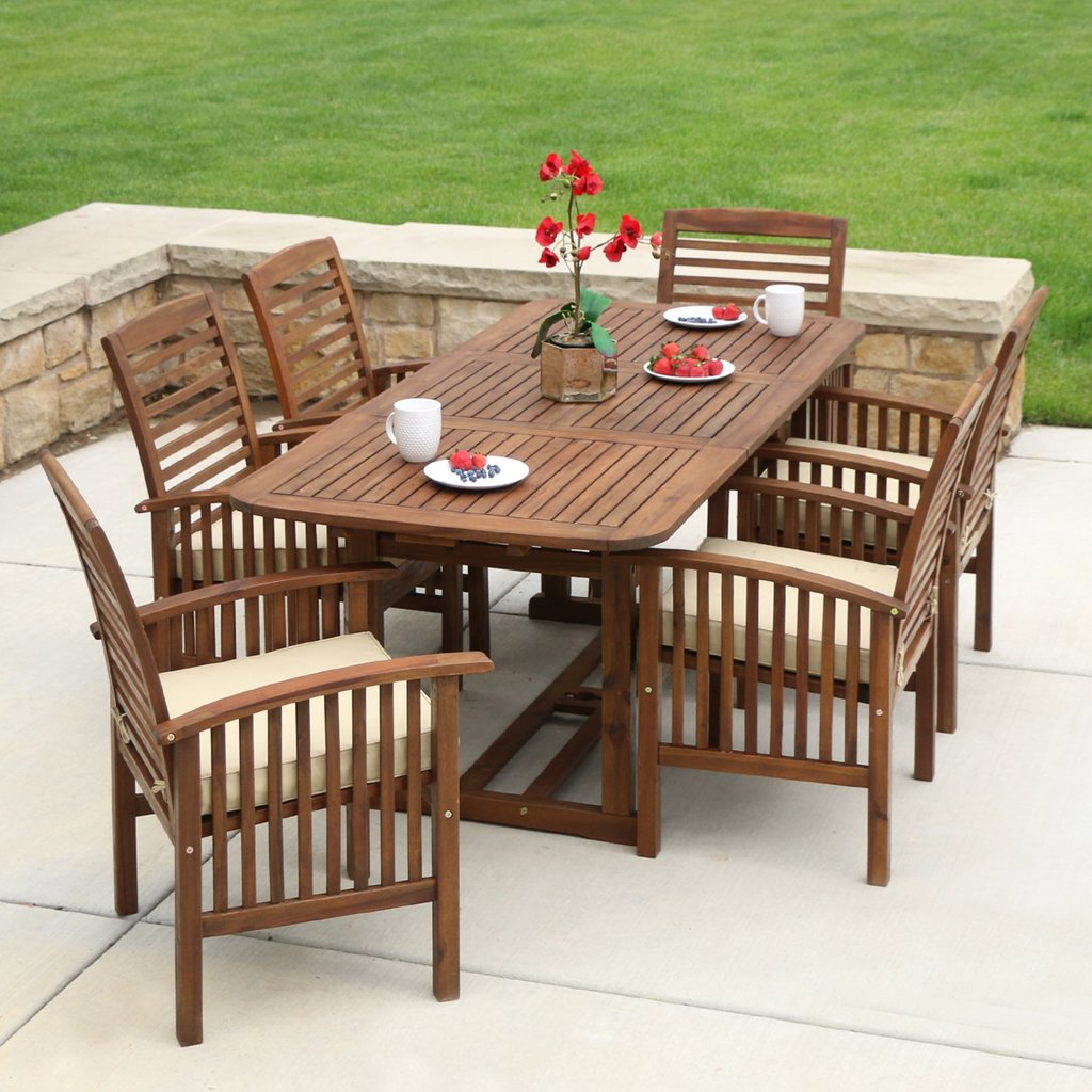 Walker Edison Acacium Wood 7 Piece Rectangular Patio Dining Round Dining Table With Leaf Butterfly
