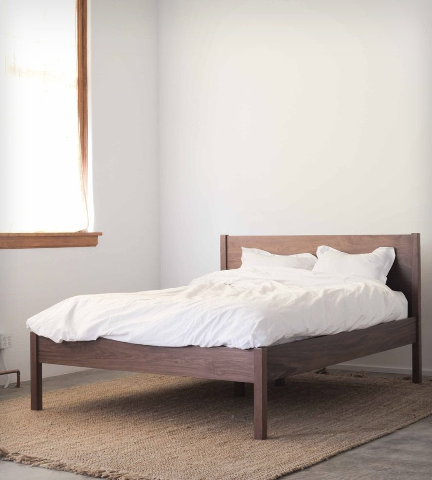 Walnut Queen Bed Frame Headboard Clean Line Making Wooden Queen Bed Frame