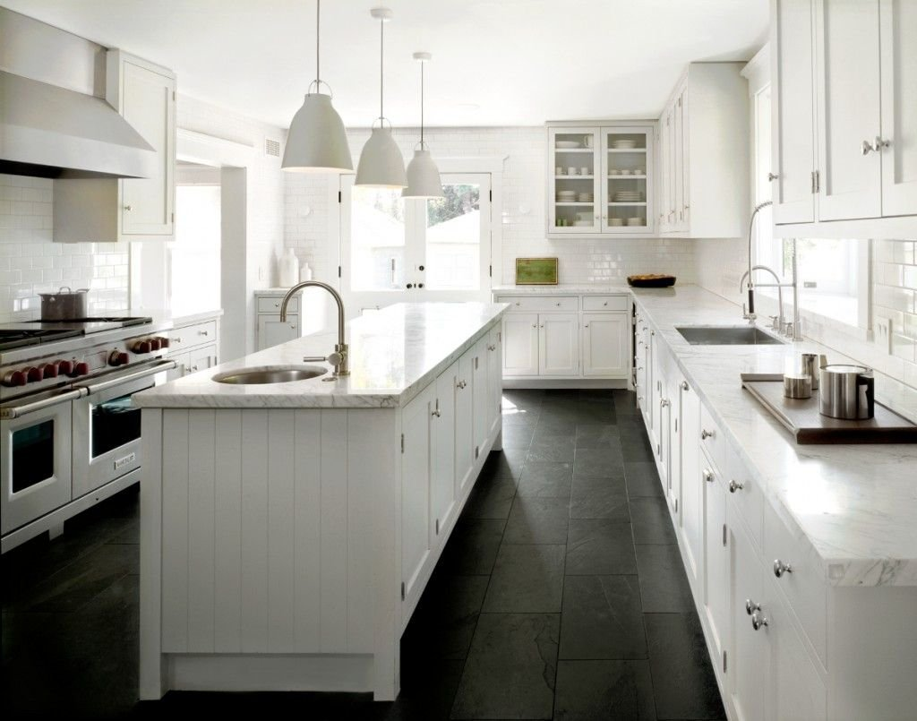 White Classic Kitchen Black Slate Floor White Mild Soap For Slate Tile Flooring