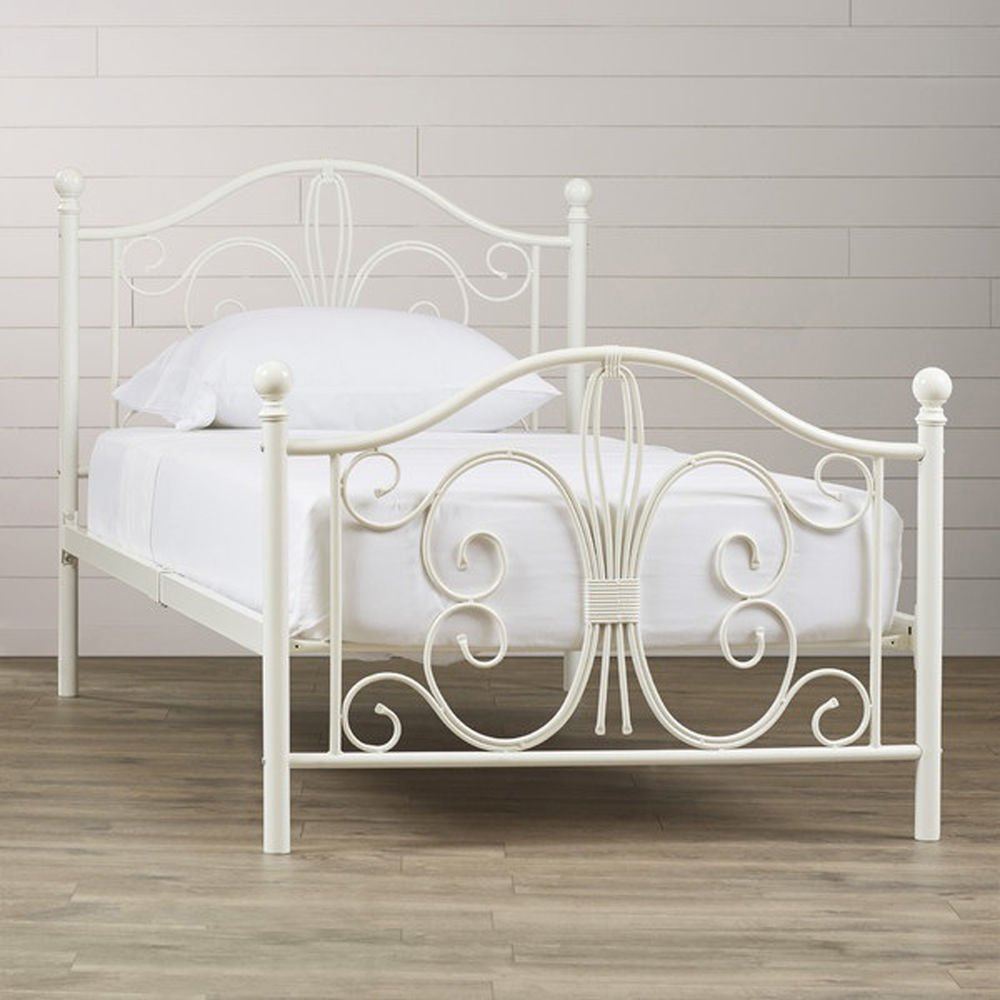 White Metal Bed Frame Twin Size Headboard Footboard Kid How To Build A Wood Twin Bed Frame