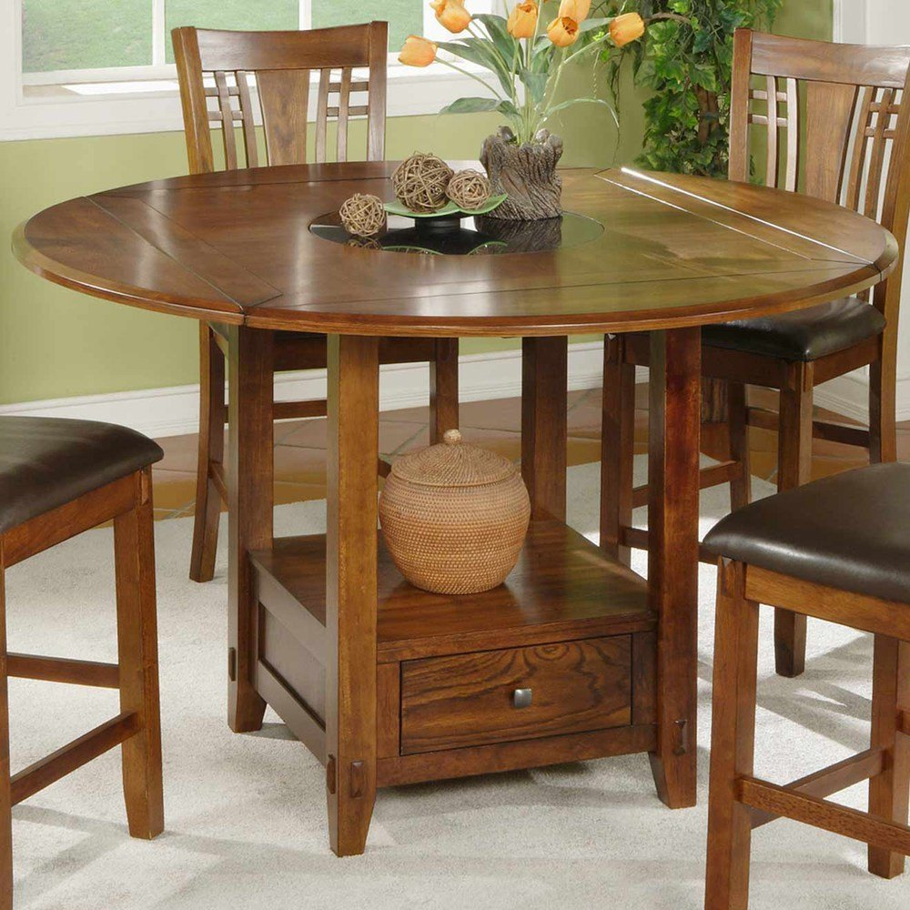 Winner Dzh54260 Zahara Counter Height Dining Table Round Dining Table With Leaf Butterfly