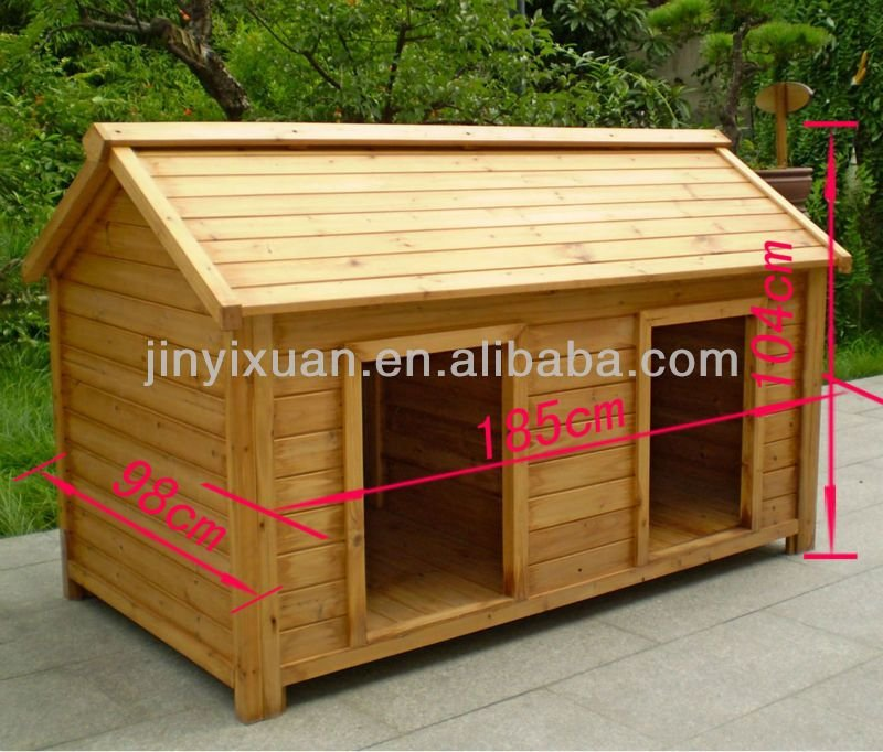 Wood Double Dog Kennel Outdoor Large Dog House How To Build Shaker Cabinet Doors Style