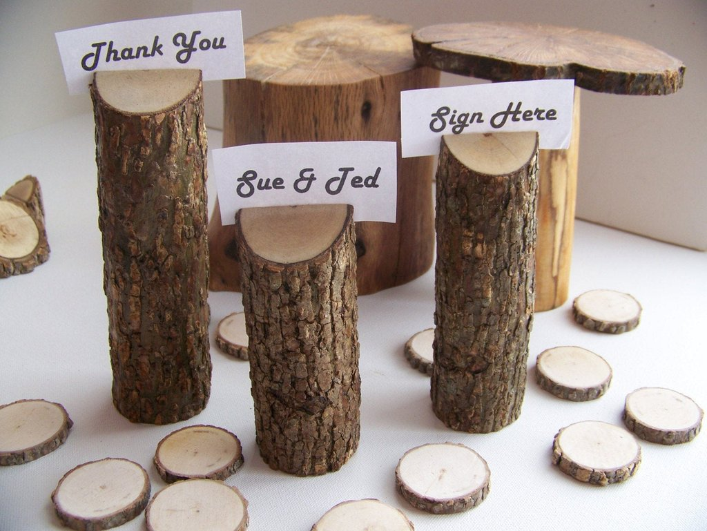 Wood Tree Table Number Holder Set 3 Monkeysontheroof Make A Tree Trunk Coffee Table