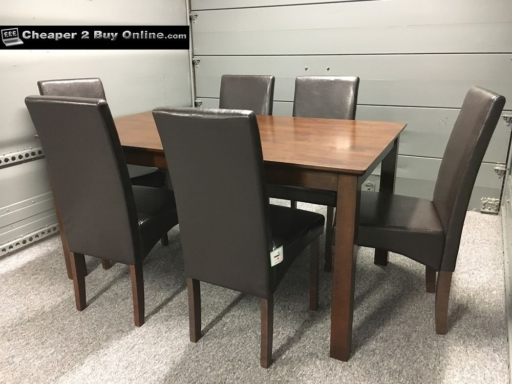 Wooden Dining Table 6 Brown Faux Leather Chair Dark How To Build Round Wood Table Tops