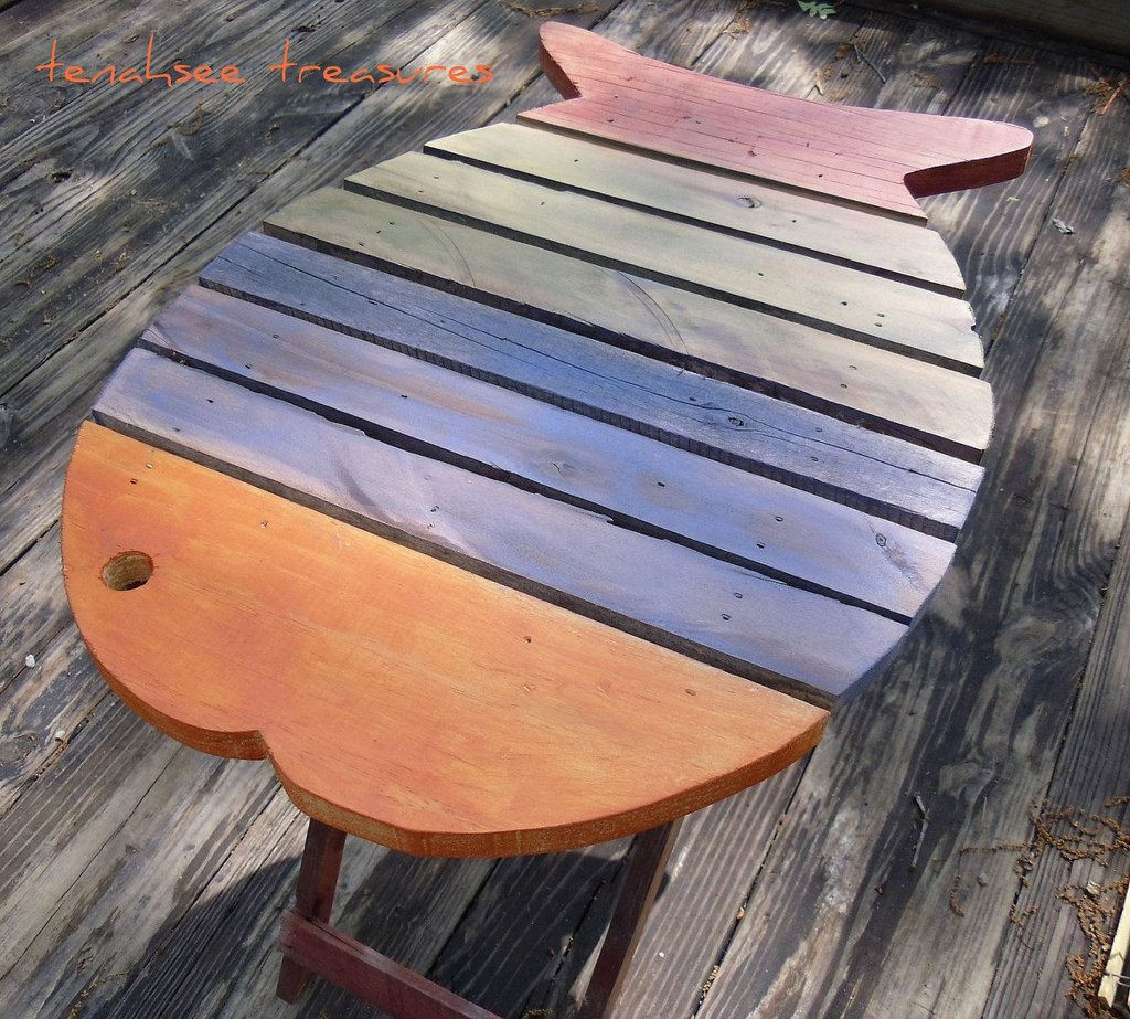 Wooden Fish Table Mulit Color Beach Nautical Country How To Build A Wooden Bathtub Stool