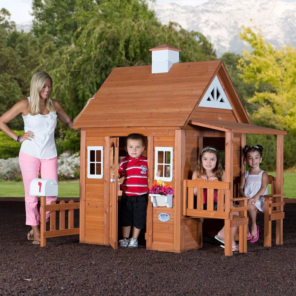 Woodland Playhouse Playhouse Backyard Discovery Outdoor Wooden Playhouse  With Slide