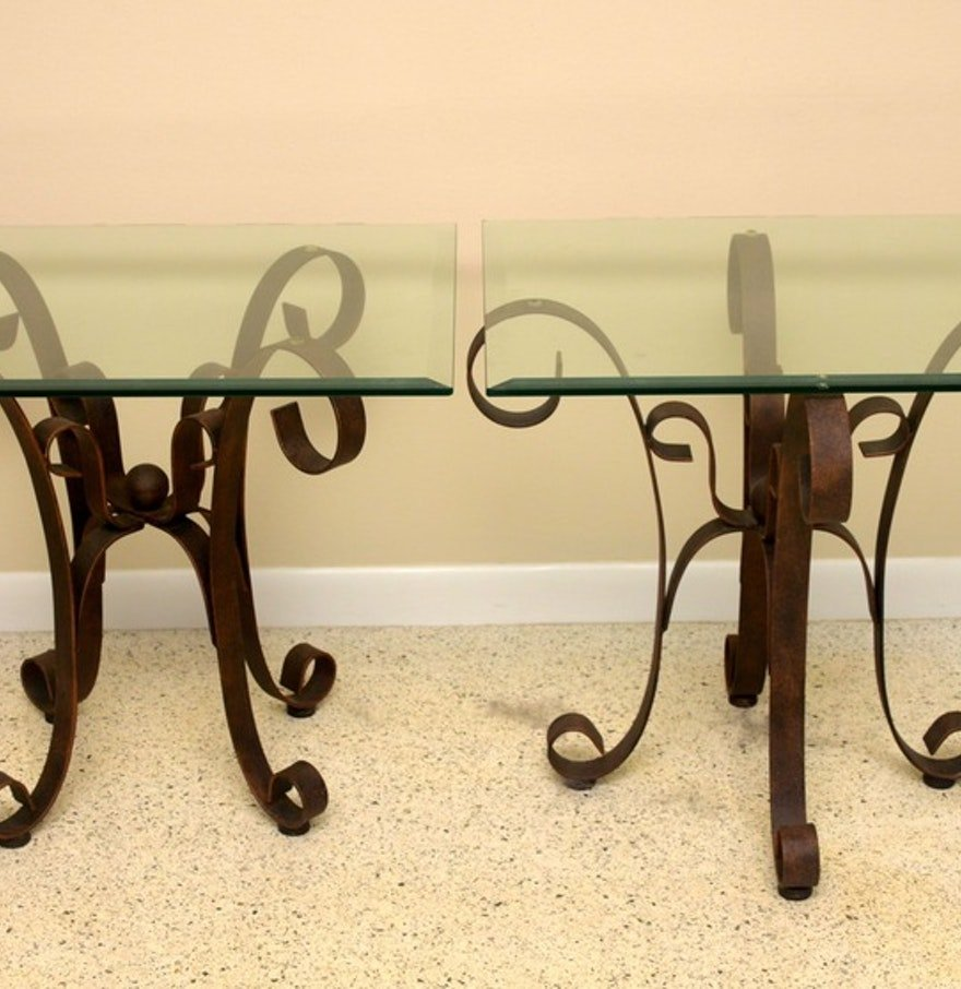 Wrought Iron Glass Table Ebth How To Restore Wrought Iron End Tables