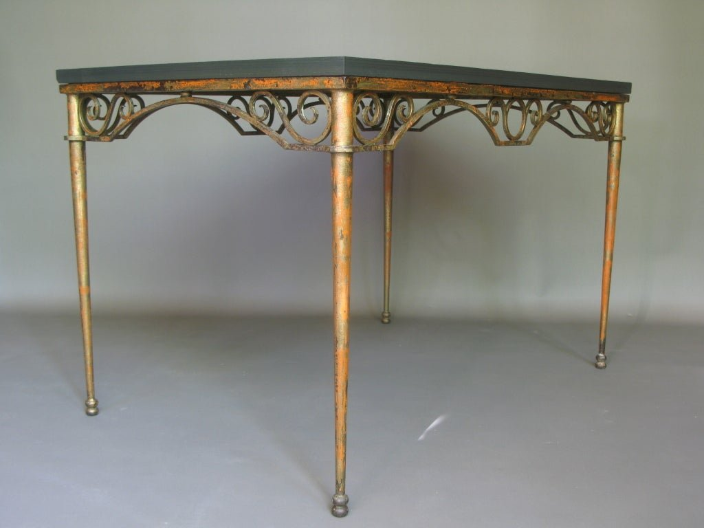 Wrought Iron Slate Table 1stdib Make A Tree Trunk Coffee Table