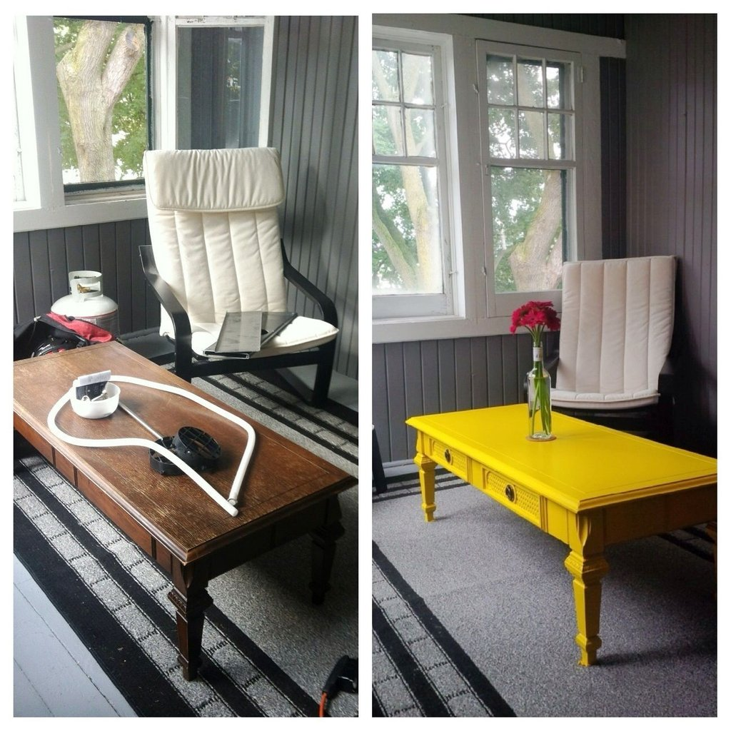 Yellow Coffee Table Diy Love Bright Color Painted The Wicker End Tables