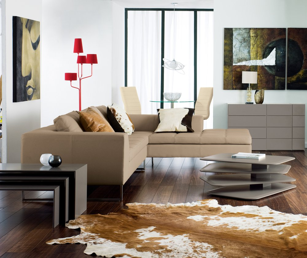 Beige Leather Sofa Decor