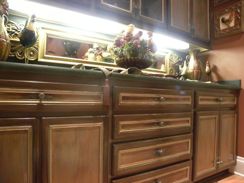 Brown Distressed Kitchen Cabinets