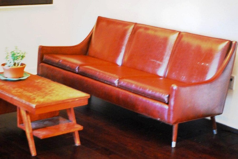 Classic Mid Century Leather Sofa