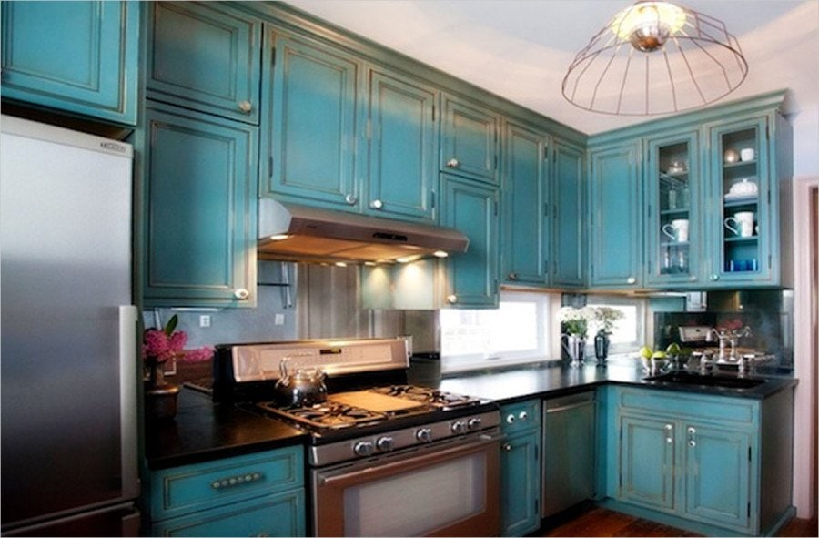 Color Blue Distressed Kitchen Cabinets