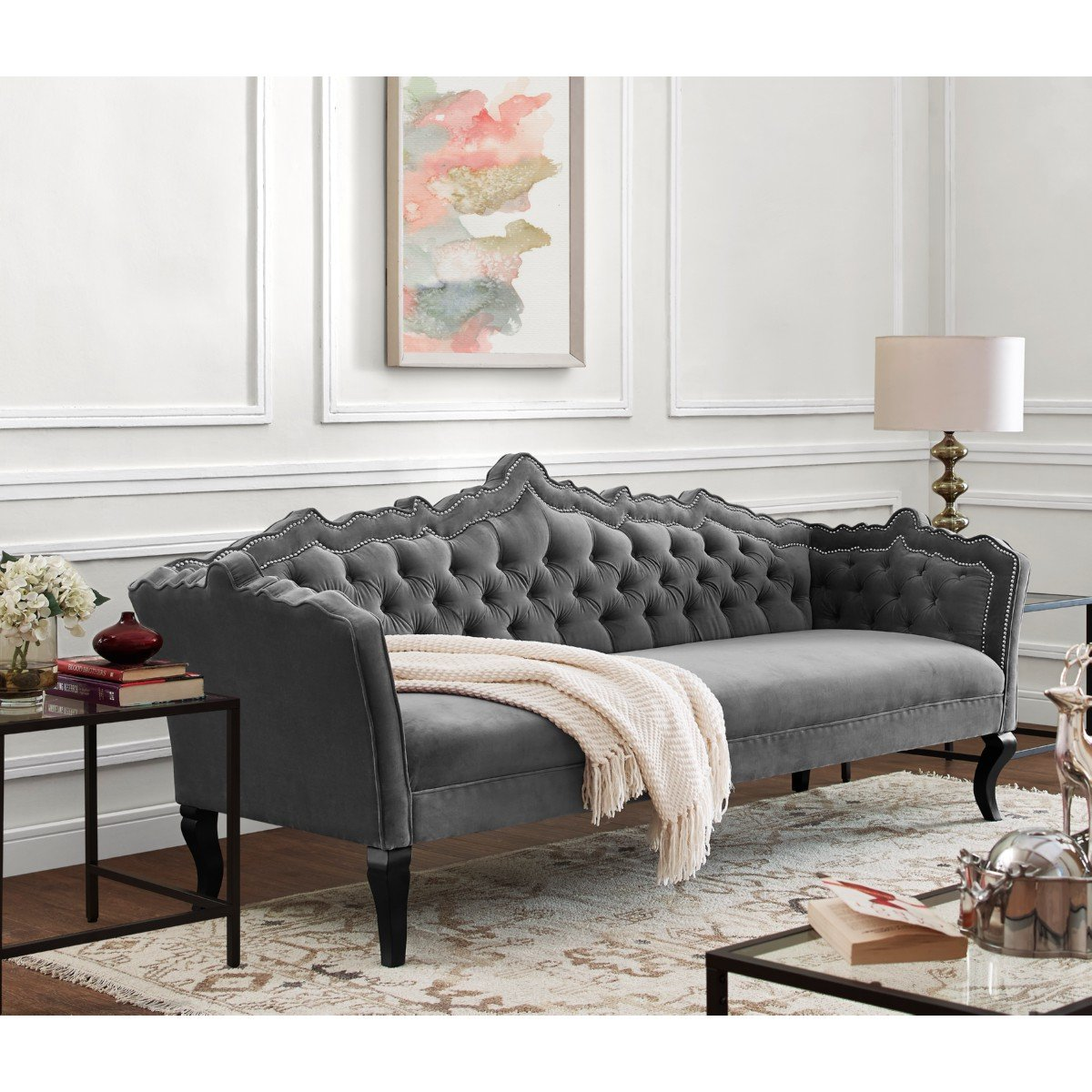 Contemporary Tufted Velvet Sofa