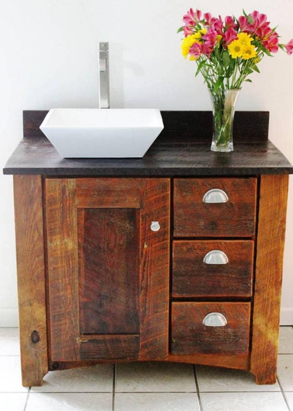 Contemporer Reclaimed Wood Bathroom Vanity