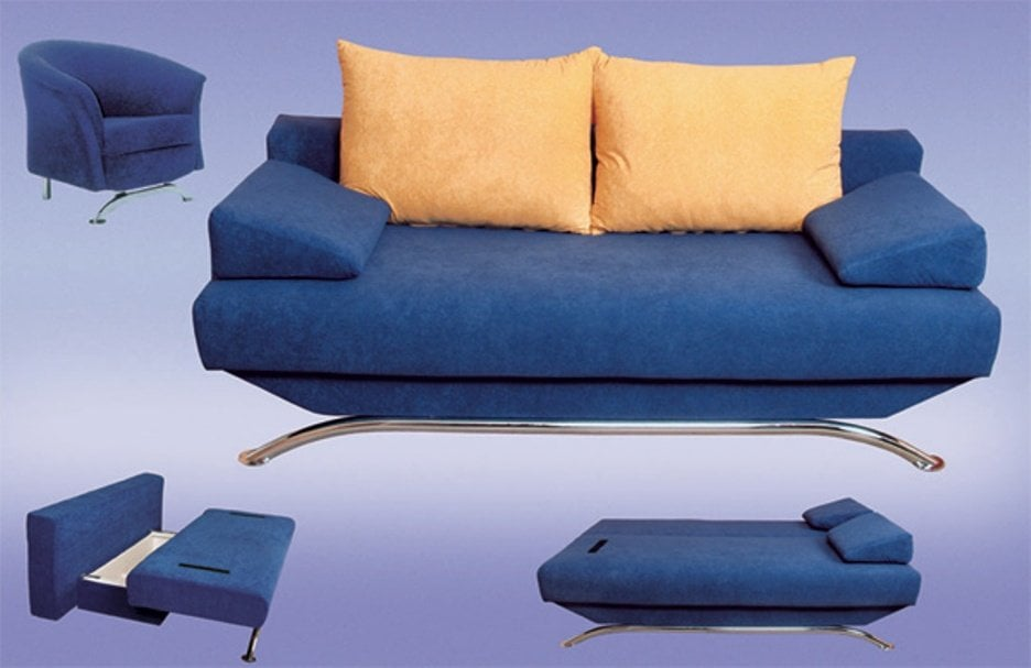 Blue Convertible Sofa Bed With Chaise