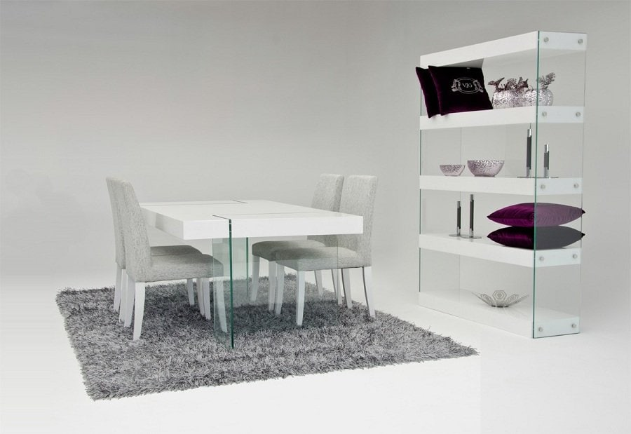 Cool White Lacquer Dining Table