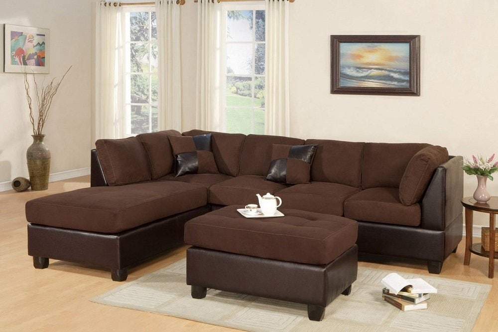 Dark Leather Sectional Sleeper Sofa