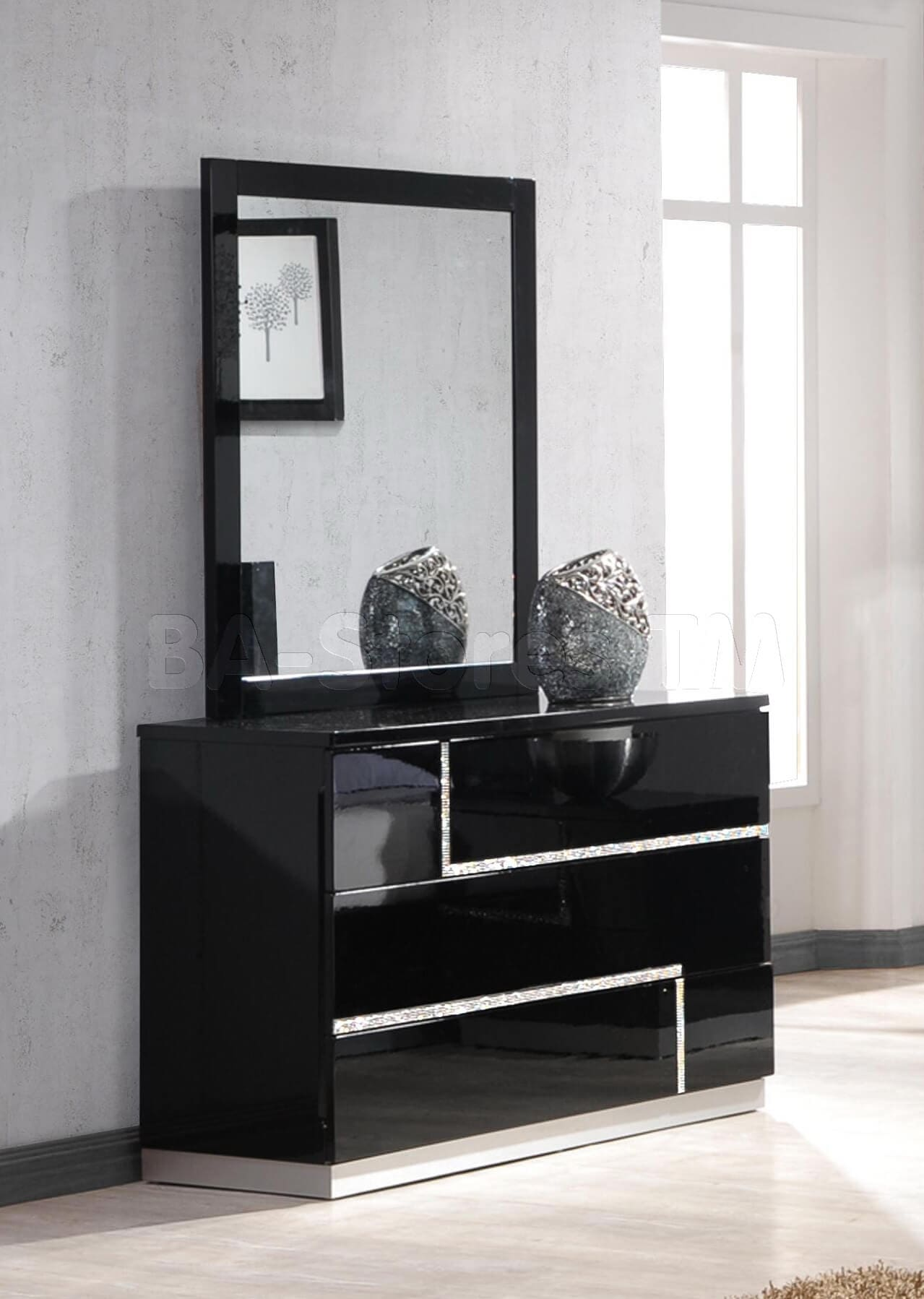 Dark Mirrored Dresser