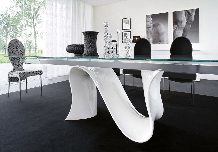 Design White Lacquer Dining Table