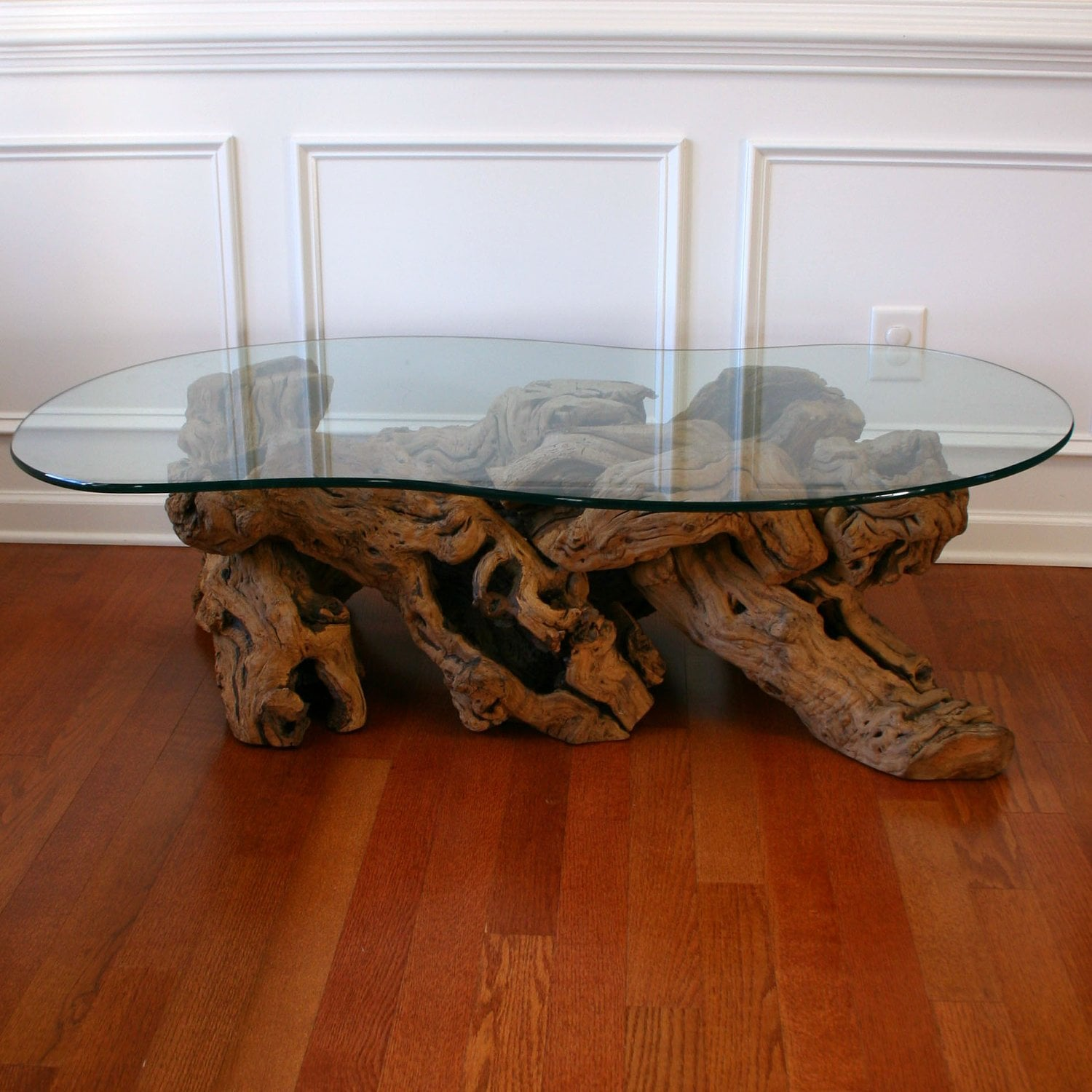 Driftwood Coffee Table With Glass