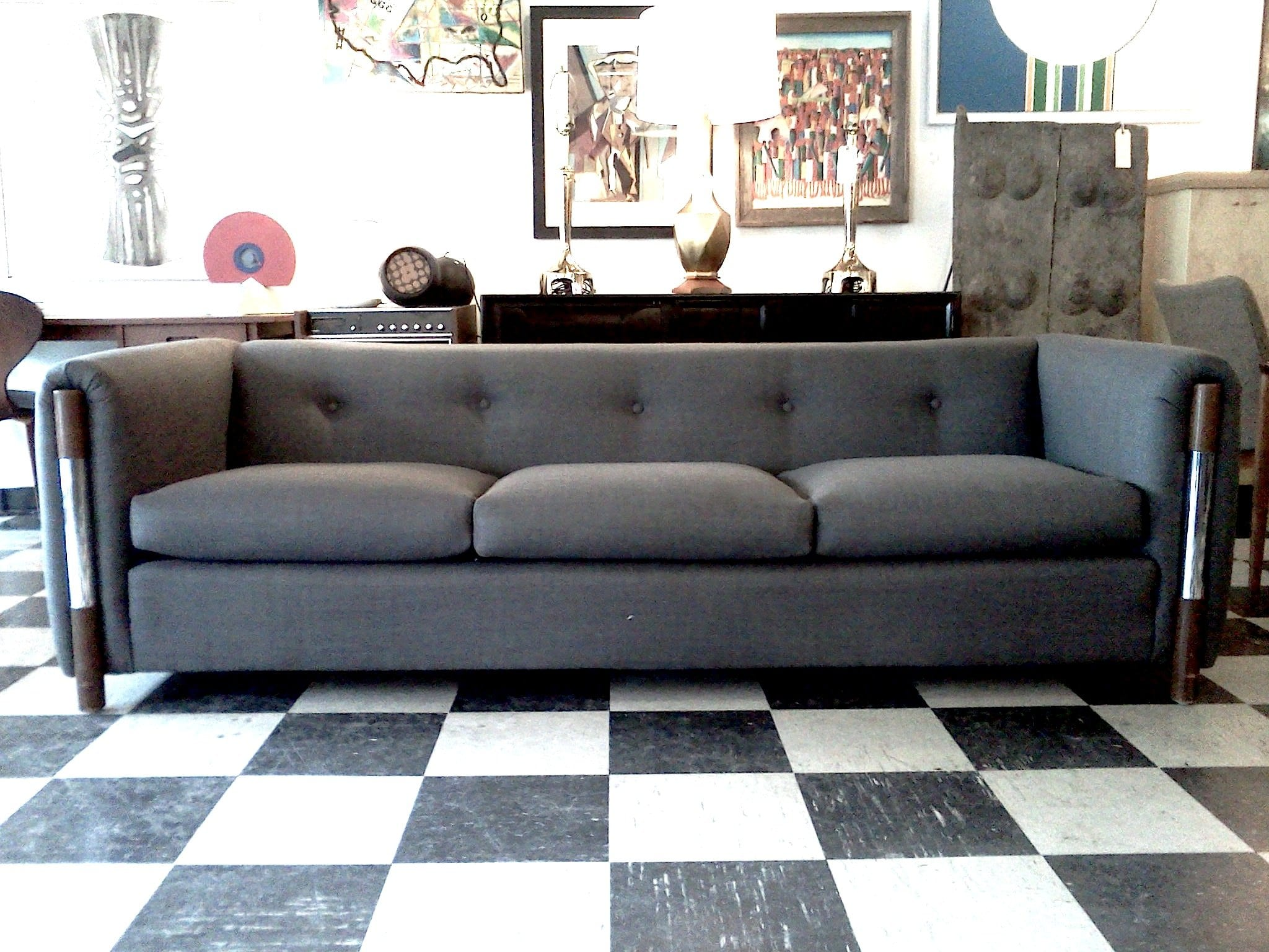 Elegant Grey Tufted Sofa