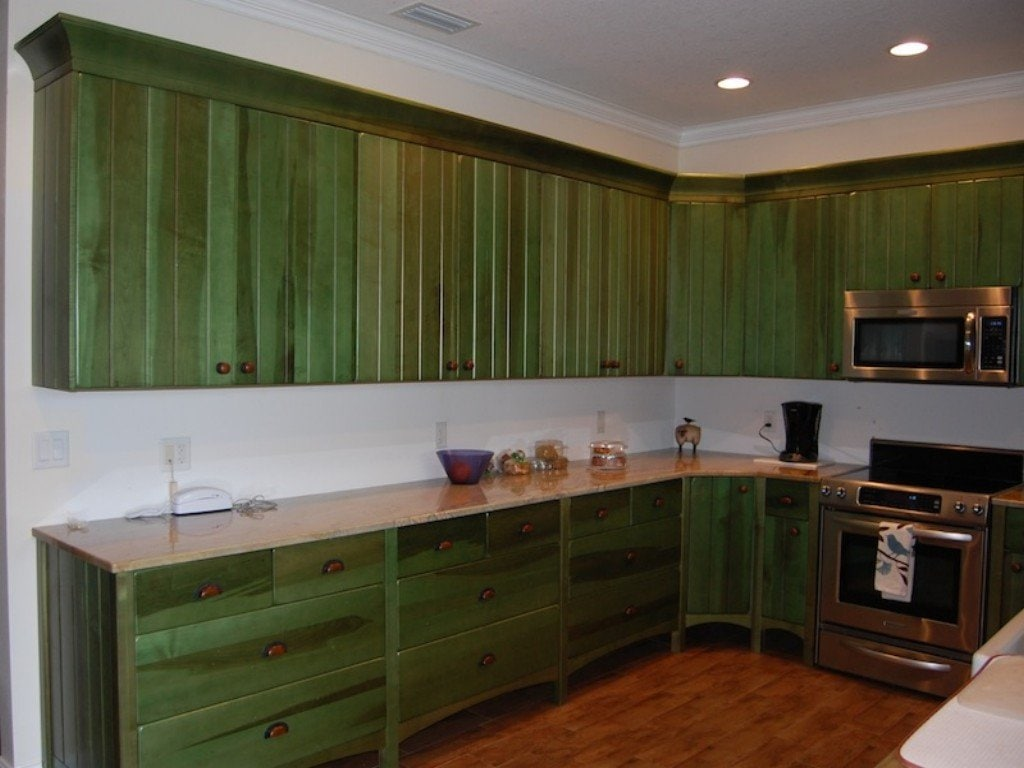 Green Distressed Kitchen Cabinets