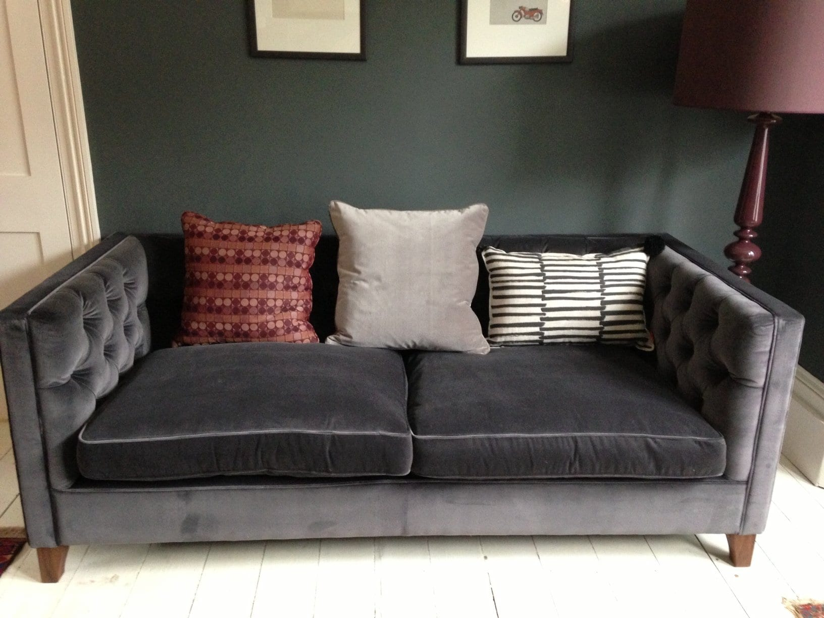Grey Tufted Velvet Sofa