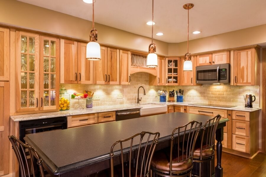 Hickory Cabinets With Light Countertops