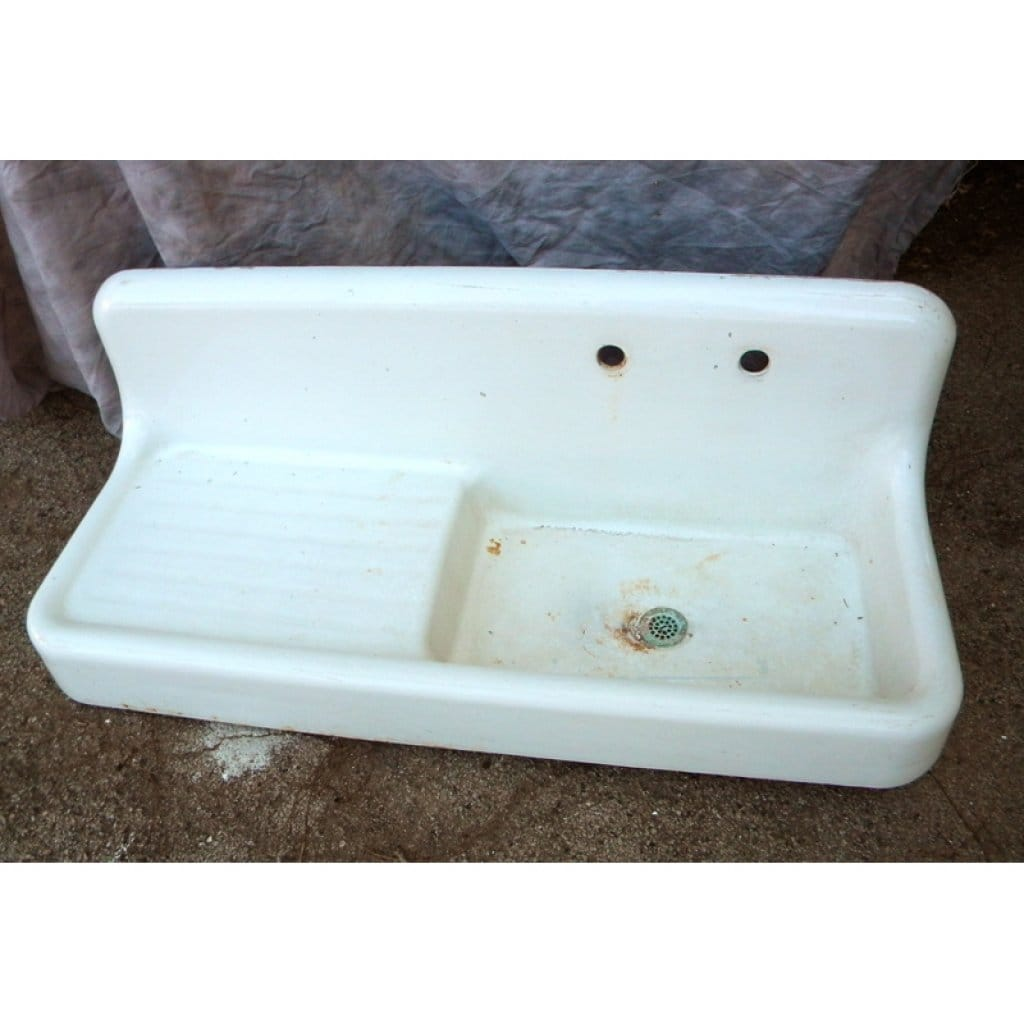 Kitchen-Sink-With-Drainboard-White