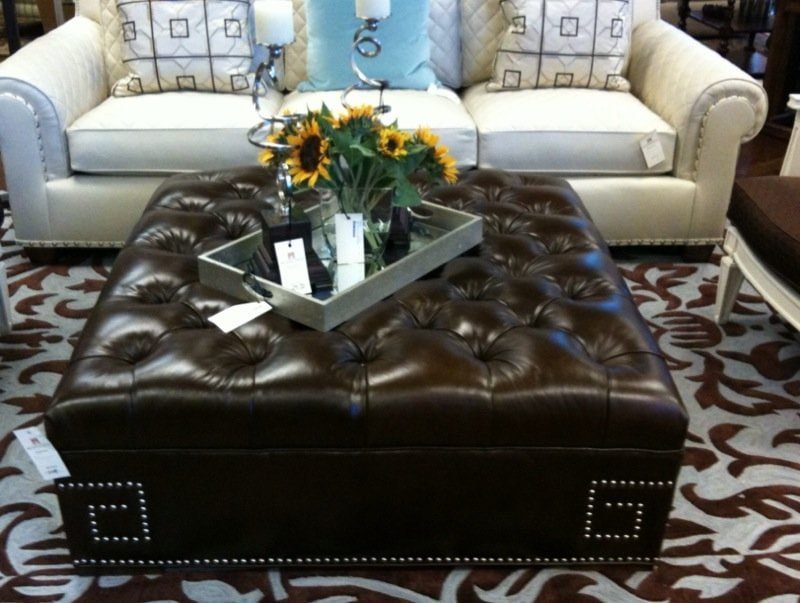 Large Square Leather Ottoman Coffee Table