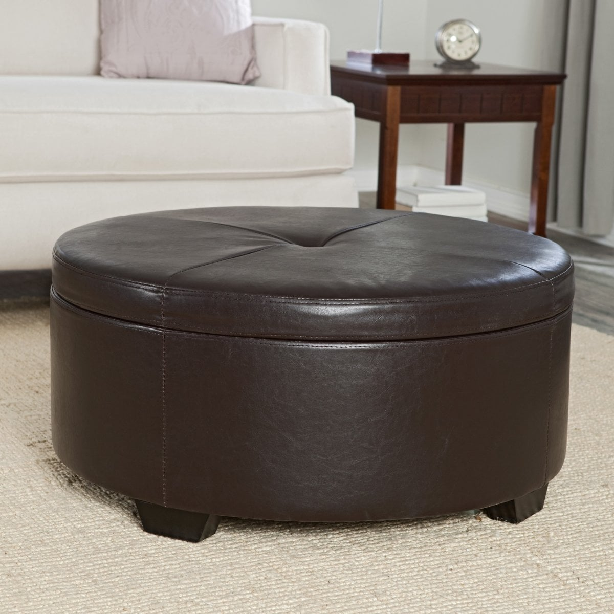 Leather Ottoman Coffee Table Brown