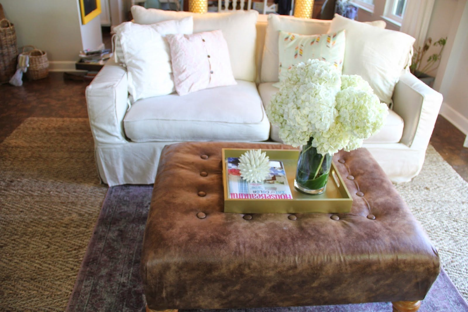 Leather Ottoman Coffee Table Metal Legs
