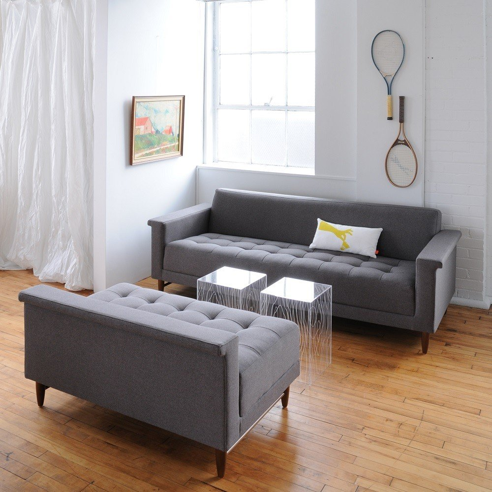 Modern Grey Tufted Sofa