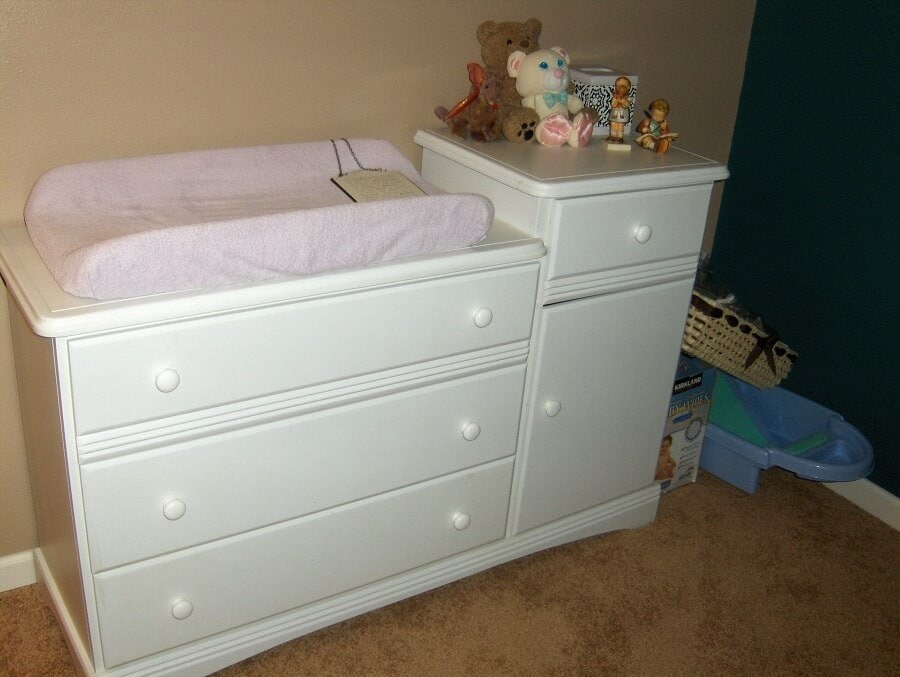 Modern White Changing Table Dresser