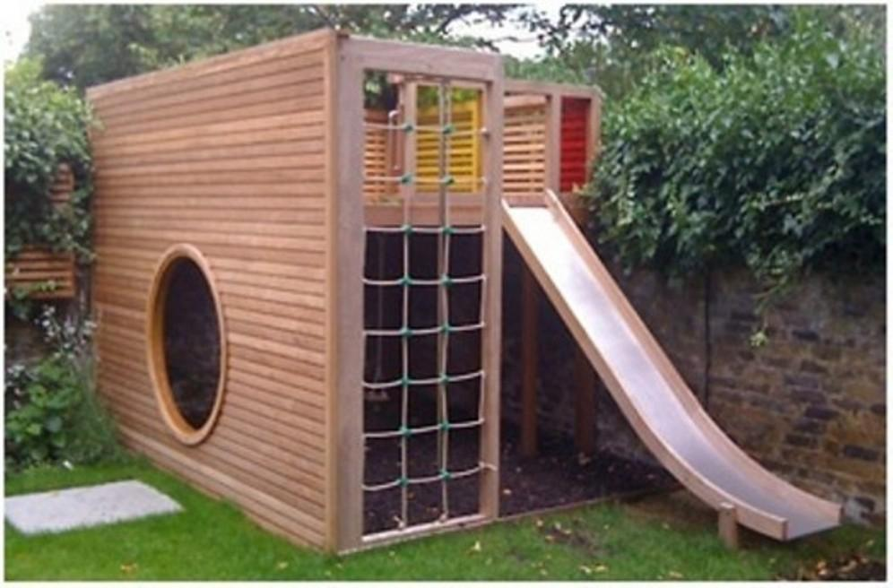 Outdoor Wooden Playhouse Plans With Child Slide