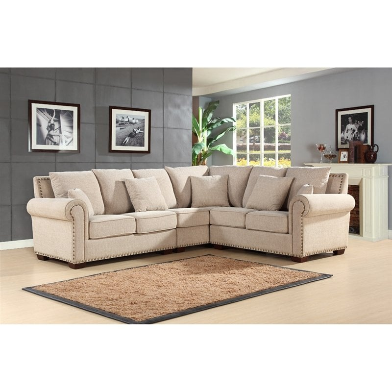 Picture Of Linen Sectional Sofa