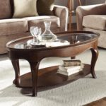 Rustic Oval Glass Coffee Table