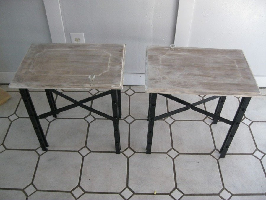 Simple Wrought Iron End Tables