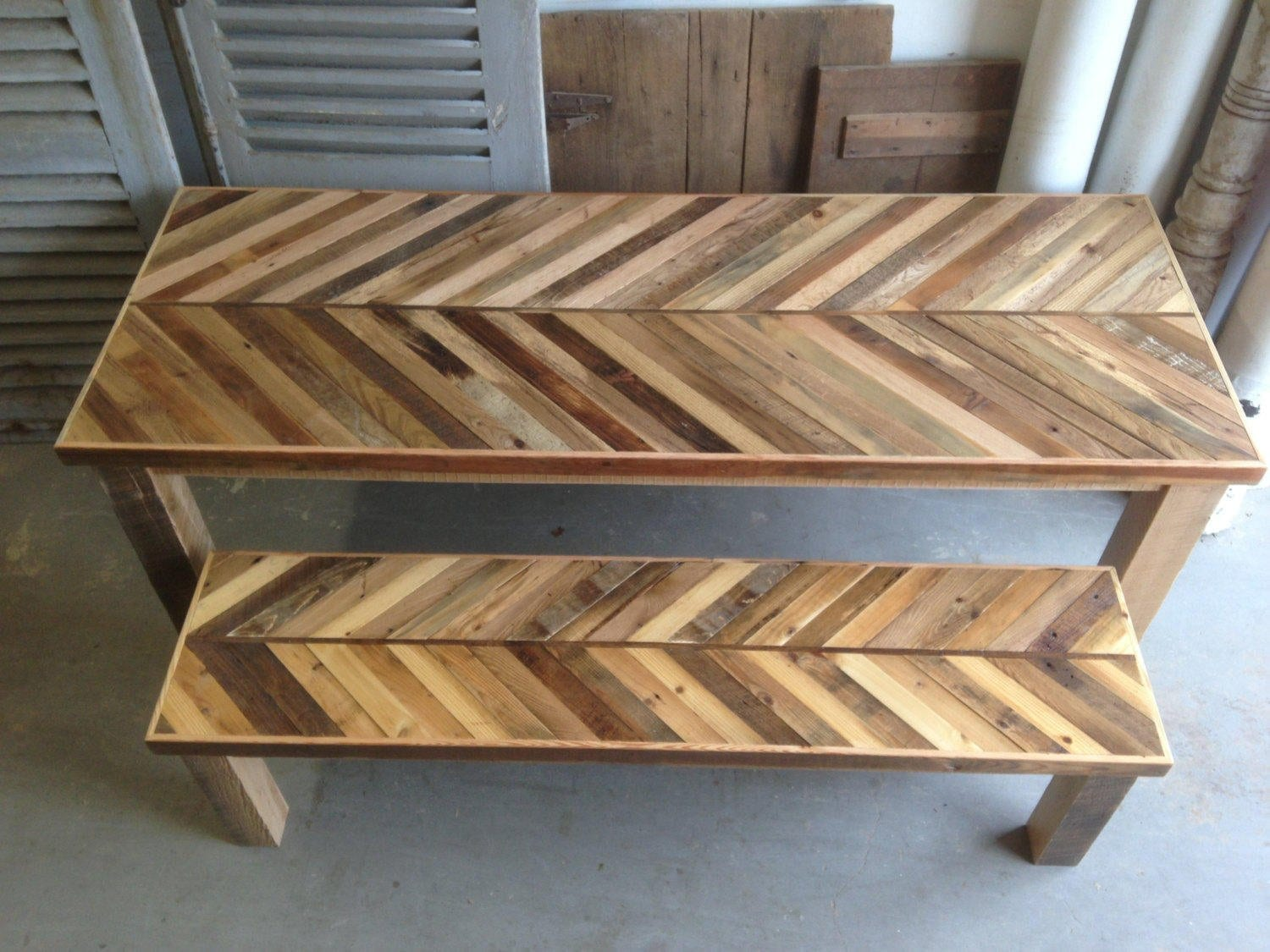 Arrow Patern Small Reclaimed Wood Kitchen Table