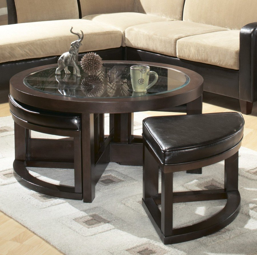 Square Coffee Table With Stools Underneath